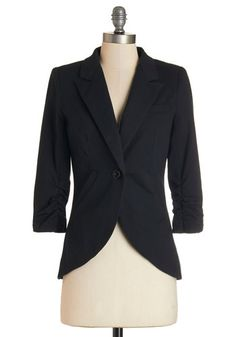 Fine and Sandy Blazer in Noir. No need to roll up your sleeves before the big meeting - this one-button blazer boasts ruched 3/4-length sleeves for a look that means chic and functional business. #gold #prom #modcloth