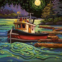 Canada ~ Greta Guzek ~ Fluorescent Tide Canadian Painters, Canadian Artists, Beautiful Drawings, Beautiful Paintings, Polymer Clay Painting, Naive Art, Retro Art, Landscape Art, Painting Inspiration
