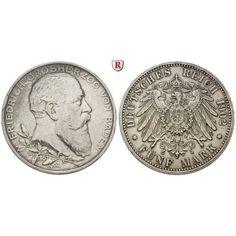Deutsches Kaiserreich, Baden, Friedrich I., 5 Mark 1902, Regierungsjubiläum, G, ss-vz, J. 31: Friedrich I. 1852-1907. 5 Mark 1902 G.… #coins