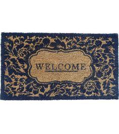 Wild Blooms Coir Mat-Blue & Natural Welcome