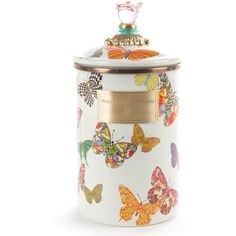 MacKenzie-Childs Large Butterfly Garden Canister (€81) ❤ liked on Polyvore featuring home, kitchen & dining, food storage containers, multi colors and mackenzie childs canister