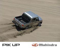 Mahindra pickup in a desert