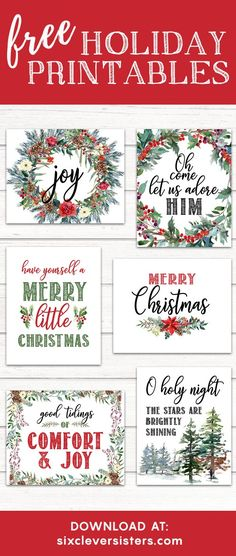 FREE Christmas Printables RED BUFFALO PLAID - 6 new red and black designs! Easy to download and print for easily adding festivity to your home!