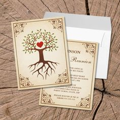 Family reunion invitations featuring a tree with deep roots and branches enclosing a red heart symbolizing a family tree.