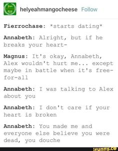 After they start dating I think Alex and annabeth would be best buds