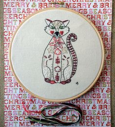 Christmas Kitty Skittle Embroidery Kit by NickyBarfoot on Etsy