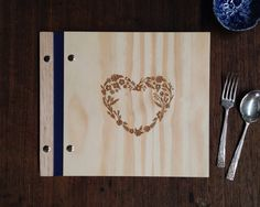 Ready to Ship wooden wedding guest book or gift, by Lorgie