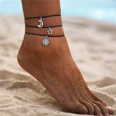 CrazyPiercing Boho Anklet Bracelet, Blue Starfish Ankle Multilayer Beach Foot Chain with Turtle Charm Anklet for Women and Girls – Jewelry & Gifts Bracelets Wrap En Cuir, Bangle Bracelets, Beaded Anklets, Silver Anklets, Piercings, Anklet Bracelet, At Least, Just For You, Silver Color