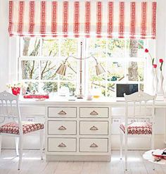 Kids Study Design in white and red.  Study area for two kids.