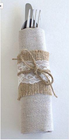 Cute rustic napkin arrangement #rusticweddings