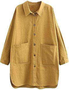 Minibee Women's Cotton Jacket Blouse Button Down Shirts Loose Outfit Lightweight Cardigan Big Pockets Plus Size Coat Fancy Dress Design, Iranian Women Fashion, Plus Size Coats, Mode Hijab, Cotton Jacket, Blouses For Women, Casual Shirts, Fashion Outfits, Models