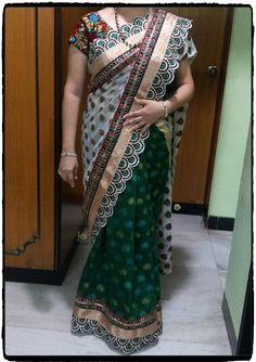 Green & White saree