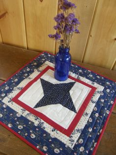 PATRIOTIC STAR Quilted Table Topper by MoonDanceTextiles on Etsy