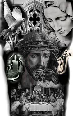 Jesus Drawings, Jesus Christ Drawing, Tattoo Drawings, Christ Tattoo, Jesus Tattoo, Cross With Wings Tattoo, Religious Tattoo Sleeves, Chicano Art Tattoos, Torso Tattoos