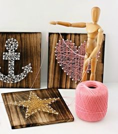 Items similar to String Art Board (Anchor, Heart, Star) on Etsy String Art Board (Anchor, Heart, Star) by LetUsCelebrate on Etsy Nail String Art, Watercolor On Wood, Keys Art, Thread Art, Camping Crafts, Art Boards, Altered Art, Kids Crafts, Art Projects