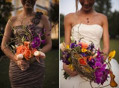 Branchy, vividly colored orchid and rose bouquets by Tanarah / Photo by Justin James Photography