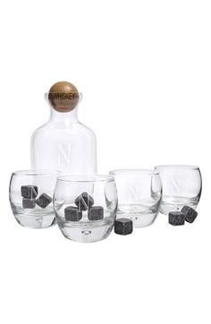 Cathy's Concepts Personalized Glass Whiskey Decanter, Glasses & Soapstones