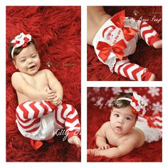 Santa Claus Diaper Cover & Matching Flower by LillyBowPeep on Etsy