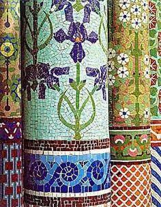 Mosaic pillars at Parc Güell  Barcelona