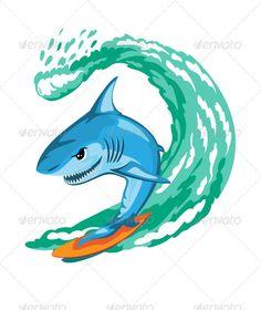 Cartoon Shark Surfer