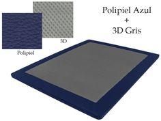 Base Tapizada Polipiel Azul + 3D Gris