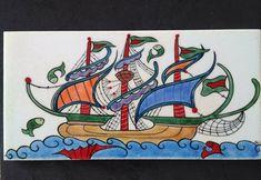 MUGECE - Çini tekniği ile 10x20 kalyon desenli karo Donald Duck, Workshop, Atelier, Shop Class, Work Shop Garage
