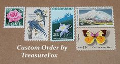 Reserved Custom Order for Erica .. Unused Vintage US Postage Stamps by TreasureFox on Etsy