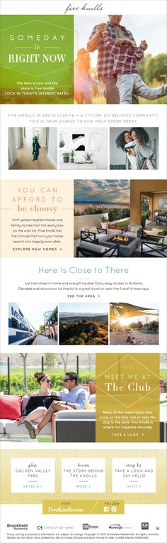New Homes for Sale in Santa Clarita, California  Someday Is Right Now  Lock in Today's Interest Rates!  Freeway close to Burbank, Glendale and Downtown LA!  Relax at the resort-style club, enjoy the bike trails or take the dog to the park.  http://fiveknolls.com/