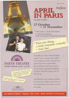 Poster of April In Paris in Perth Theatre . Date 27th October -11th November 1996.