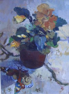 Mary Jackson 20th century contemporary oil still life flowers & butterfly signed