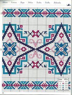 Gallery.ru / Фото #73 - βαγγελ - ergoxeiro Cross Stitch Borders, Cross Stitch Alphabet, Cross Stitch Patterns, Russian Cross Stitch, Cross Stitch Cushion, Geometric Embroidery, Tile Layout, Zentangle Drawings, Pattern Drawing