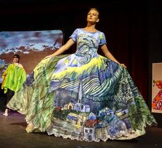 """Festival of Silk Painters Raises Hail in Santa Fe. Hand-painted """"Van Gogh Dress"""" by Julia Reidhead during """"Changing Elements"""" Fashion Show. Photo by Muffy Clark Gill."""