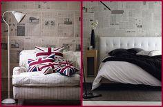 Paredes decoradas con periódicos • Walls decorated with newspapers