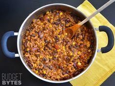 One Pot Chili Pasta - Budgetbytes.com | Total Cost: $9.71 Cost Per Serving: $1.08 per cup Serves: 9 cups