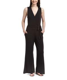 Love this Black Tie-Waist Jumpsuit by Nina Leonard on #zulily! #zulilyfinds