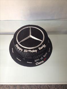 Male birthday cakes |black|tyre|mercedes benz