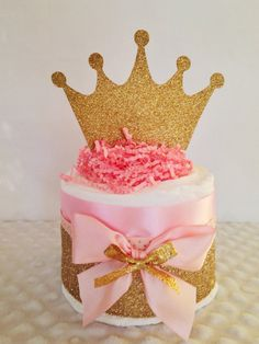 Mini Princess Pink and Gold Diaper Cakes by AllDiaperCakes on Etsy