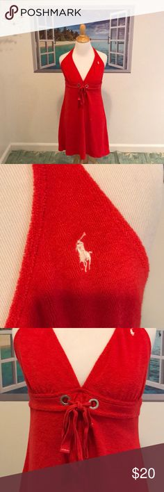 Ralph Lauren Beach Cover Up Simply Perfect Beach Cover Up From Ralph Lauren! Size: Large. EUC. Color is red with white logo on chest. Ties around neck in back. Front has silver tone detail with red self tie. Very soft Terry material. Perfect for vacay, Beach, poolside, cruise & water parks! 55% polyester 45% cotton. Hand wash line dry. NO TRADES. Ralph Lauren Swim Coverups