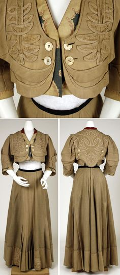 Suit, Raudnitz and Co.-Huet and Chéruit, ca. 1905. Wool, silk, cotton, linen. Similar to suit in previous pin, but different. Metropolitan Museum of Art