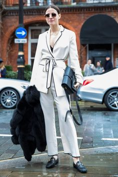 Pin for Later: 50 Styling Lessons to Steal From Fashion Month's Best Dressed Polish off pajama dressing with a sharp bag and shoes.