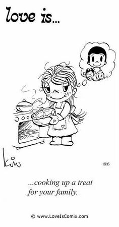 Love is... cooking up a treat for your family.