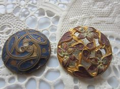Vintage Buttons 2 Collector molded metal by pillowtalkswf on Etsy, $10.95