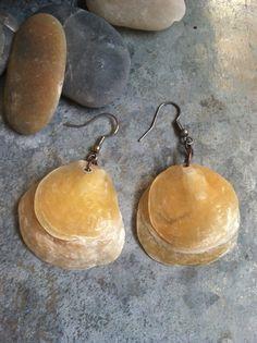 boho gypsy double layered jingle beach shell earrings, beachy jewelry, beach wedding jewelry, seashell jewelry