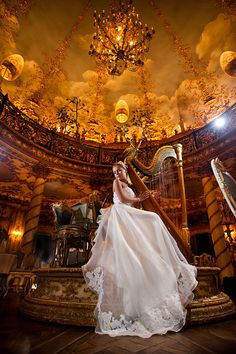 Wedding music   bride, music, harp