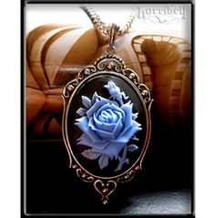 Blue & Black Rose Cameo Necklace