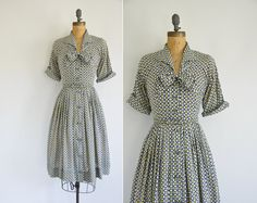 50s rayon print dress / 1950s 50s bowtie by simplicityisbliss, $68.00