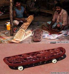 skateboarding on unconventional boards :D