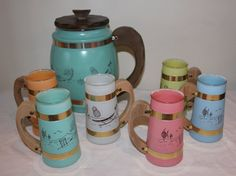 7 Piece Vintage SiestaWare Set 6 Wooden Handled by AGEDtoADMIRE