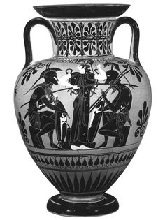 Achilles and Ajax playing a board game.  (Achilles on the left; Ajax on the right, between them stands Athena.) Black-figure neck-amphora. Attic. Attributed to the Leagros Group Painter. Clay. Ca. 510 B.C. Height 45.3—45.8 cm (17 7/8 — 18 in.). Inv. No. 86.AE.81. Los Angeles (USA), John Paul Getty Museum, The Getty Villa Malibu.