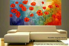 XL Oil Rich Red Dancing Poppies painting Abstract